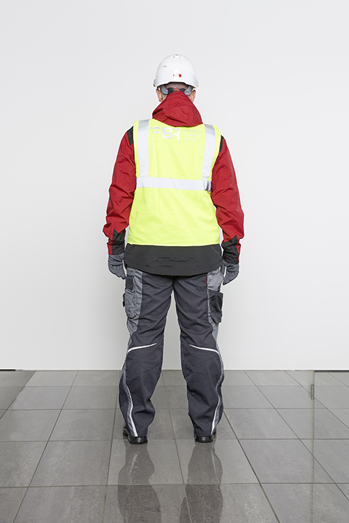 presentation of complete safety clothing from the back