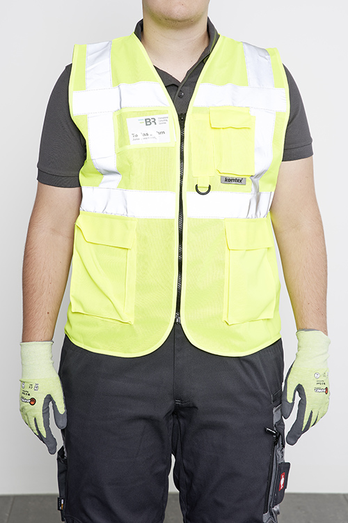 safety vest with name tag